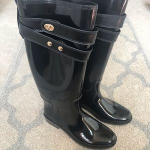 Coach Black Rubber Boots